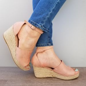 Shoes - Dusty Rose Suede Espadrille wedge Heel Sandal-E
